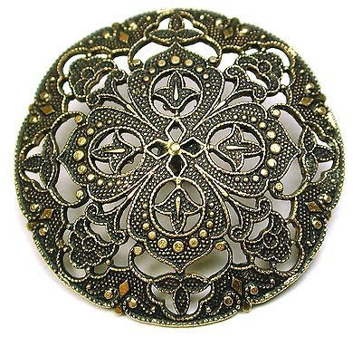 Antique Pierced Brass Button Fancy Filigree Floral Design 1 & 1/4""