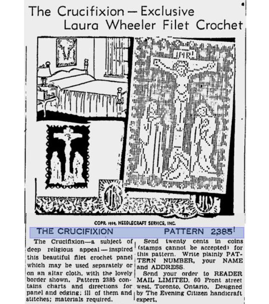 Filet Crochet Crucifixion Advertisement for Laura wheeler 2385