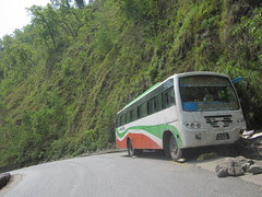 bus in a ditch on the road from Kathmandu to Pokhahra