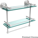 """16-inch Gallery Double Glass Shelf with Towel Bar - 16""""L Polished chrome QN-2TB/16-GAL"""