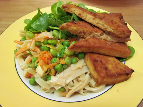 Springtime Rice Noodles with Coconut Creme; Ginger-Soy Marinade (on tofu); baby spinach leaves