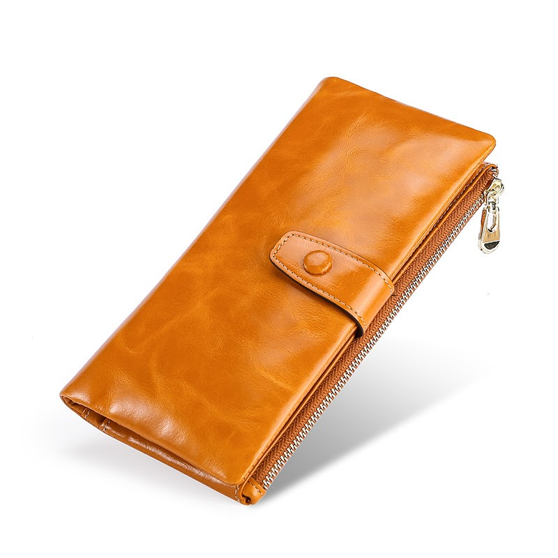 Buy Womens Retro Wallet Genuine Leather Two-Fold Long Ladies Large-Capacity Wallet Buckle Cover Zipper cowhide Leather Women Wallets