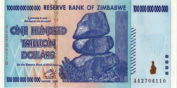 Zimbabwe's 100 trillion dollar bill that's 100,000,000,000,000