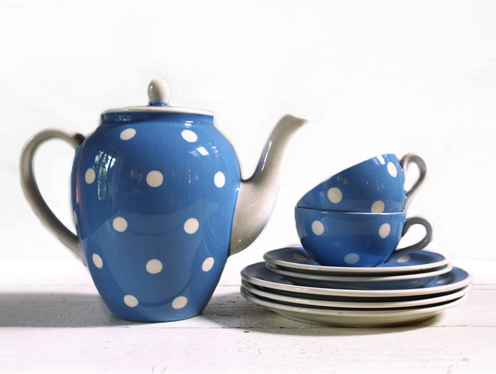 LOVELY vintage Blue Coffee SET  with  white DOTS - RueDesLouves