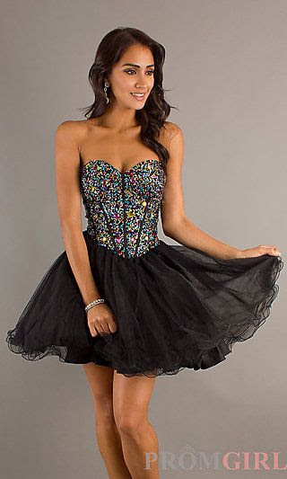 Short Strapless Lace Up Babydoll Dress at PromGirl.com Hey is that the love u like a love song dress??