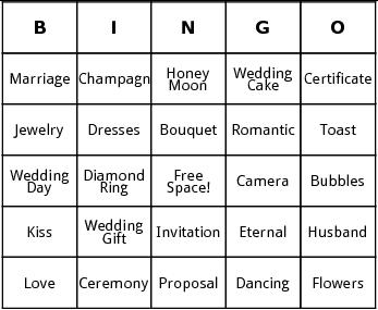 bridal shower bingo by Bingo Card Template