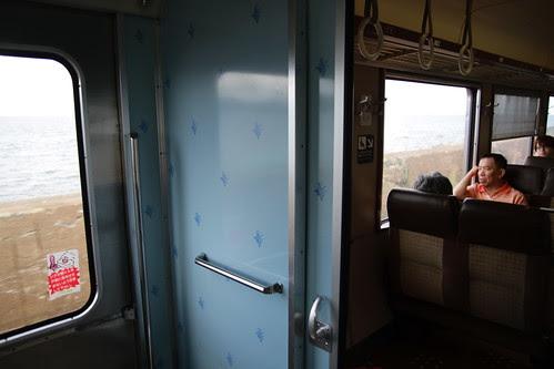 Dad on the train to Otaru