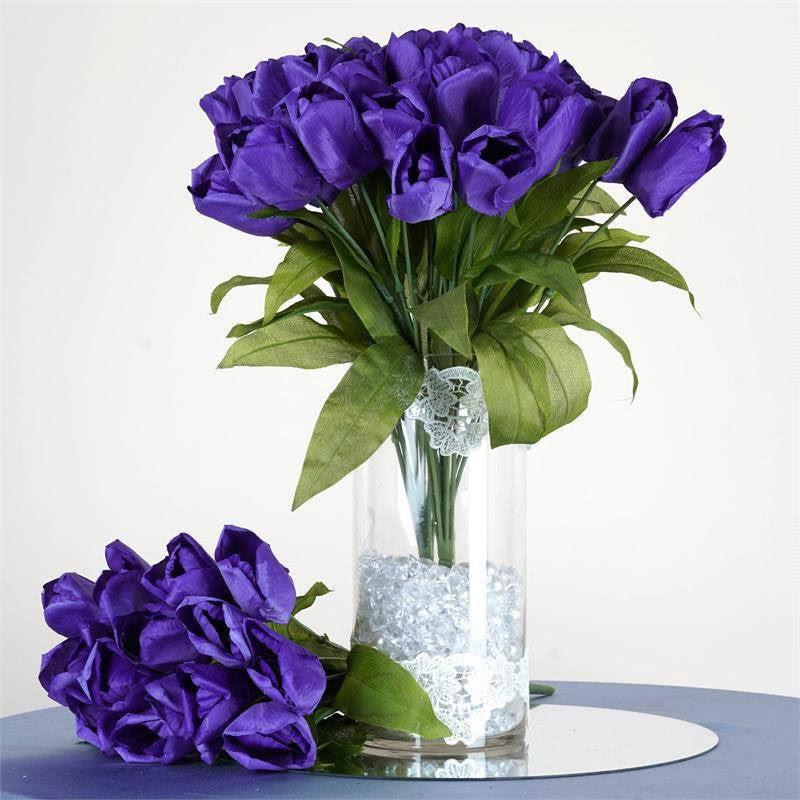 56 Artificial Tulip Flowers  Purple  eFavorMart