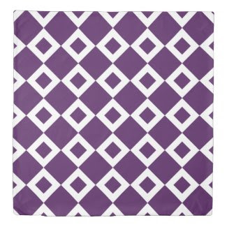 Reversible Purple and White Diamond Patterns Duvet Cover
