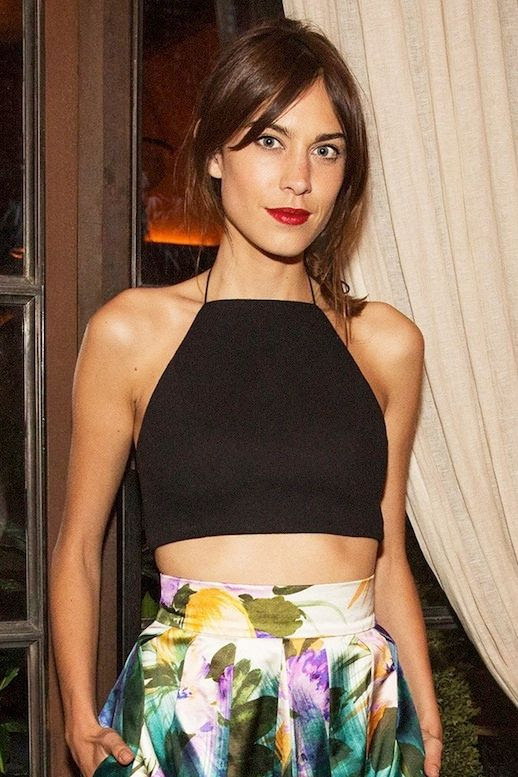 Le Fashion Blog Alexa Chung Up Do Hair Red Lipstick Rag Bone Daytona Crop Top High Waisted Dries Van Noten Floral Print Skirt 2014 Mytheresa Dinner New York City Close Up photo Le-Fashion-Blog-Alexa-Chung-Rag-Bone-Crop-Top-Dries-Van-Noten-Floral-Skirt-2014-Close-Up.jpeg