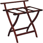 Forestgrass Wooden Mallet Wall Saver Home Luggage Storage Rack Holder Stand Furniture in Polyester Brown Webbing Solid Oak Frame Material Mahogany Finish