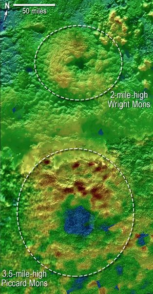 Utilizing New Horizons images of Pluto's surface to generate 3-D topographic maps, scientists discovered that two of Pluto's mountains, informally named Piccard Mons and Wright Mons, could be cryovolcanoes.