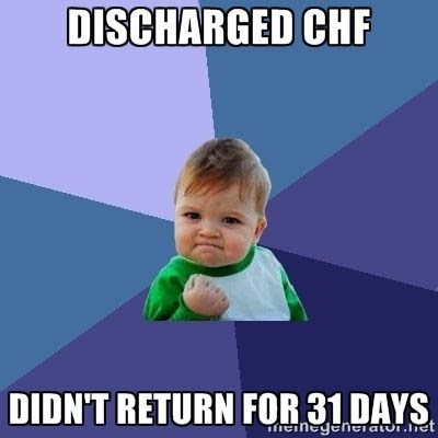 Discharged CHF.  Didn't Return for 31 days humor meme.