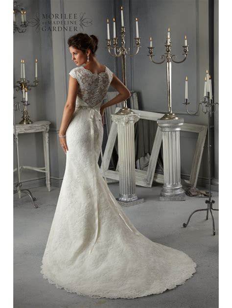 Mori Lee 5268 Allover Lace Dress With Beaded Ribbon Sash