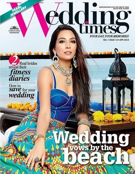 Monica Dogra on the cover of Wedding Times Magazine (April 2014)