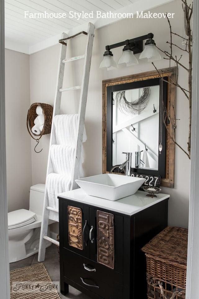 Salvaged farmhouse  bathroom  makeover with vintage