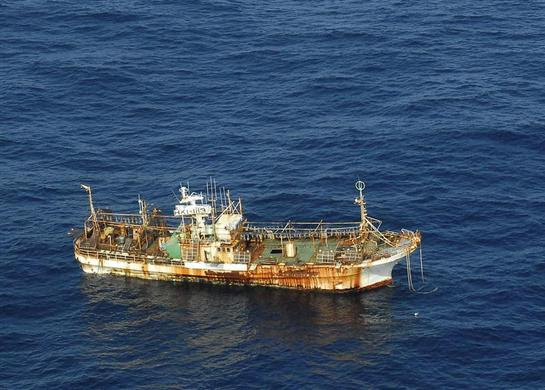 The unmanned Japanese fishing vessel, Ryou-un Maru, drifts northwest approximately 164 miles southwest of Baranof Island, in the Gulf of Alaska, April 4, 2012. REUTERS-U.S. Coast Guard-Petty Officer 1st Class Sara Francis
