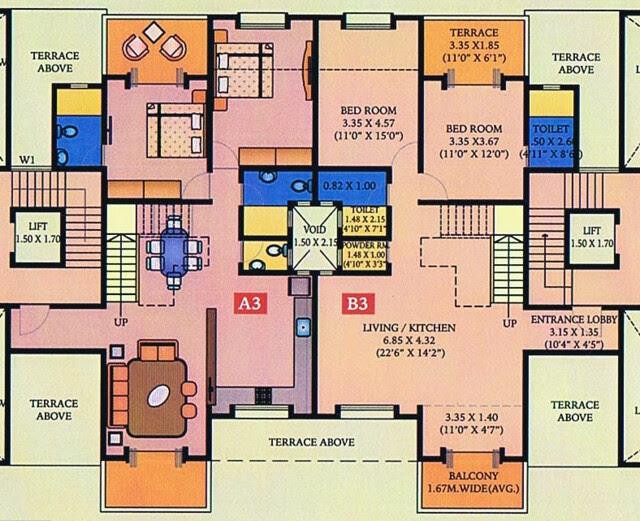 A J Serene Ram Indu Park Baner Pune - A 3 & B 3 Duplex - 1st Floor - Living, Dining, Kitchen, & 2 Bedrooms