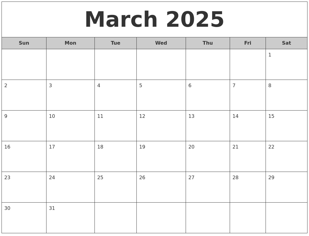march 2025 free monthly calendar