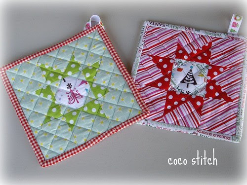 star quilt, pot holder
