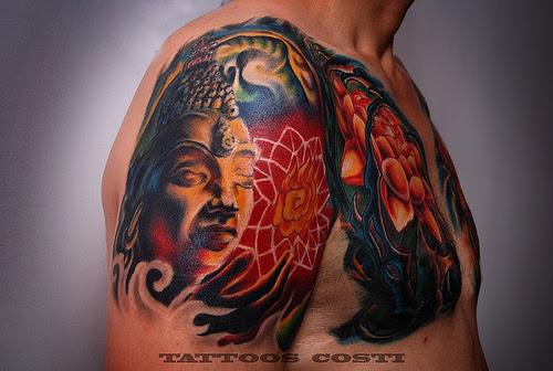 Colored Buddhist Tattoo On Half Sleeve