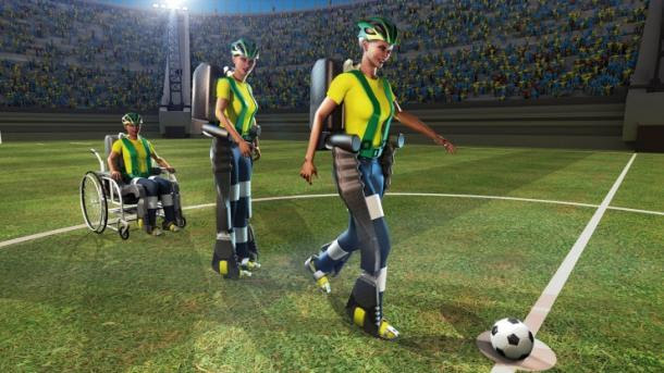 Now this is amazing and beyond cool: The World Cup will begin with a mind controlled exoskeleton kick!Wearing a state-of-the-art exoskeleton, a paralyzed teenager will make the ceremonial first kick at the World Cup in Brazil this summer.