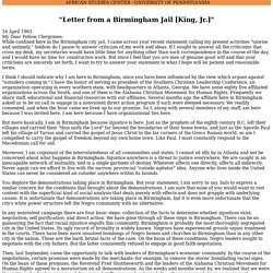thesis statement examples for letter from birmingham jail