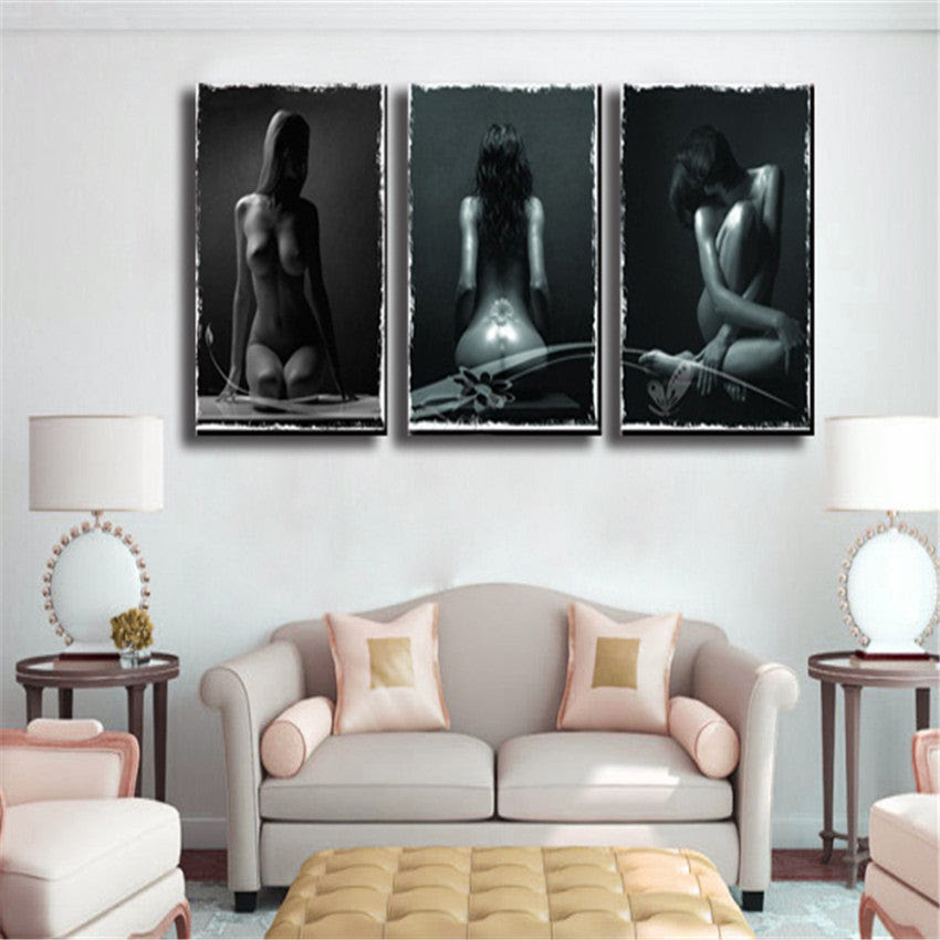 Girl Nude Canvas Printing Wall Painting Pictures For Living Room 3 Pan Bakeryworldstyle Canvas Art