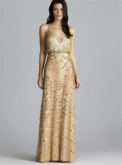 Adrianna Papell Cross Back Long Sequined Blouson Dress by