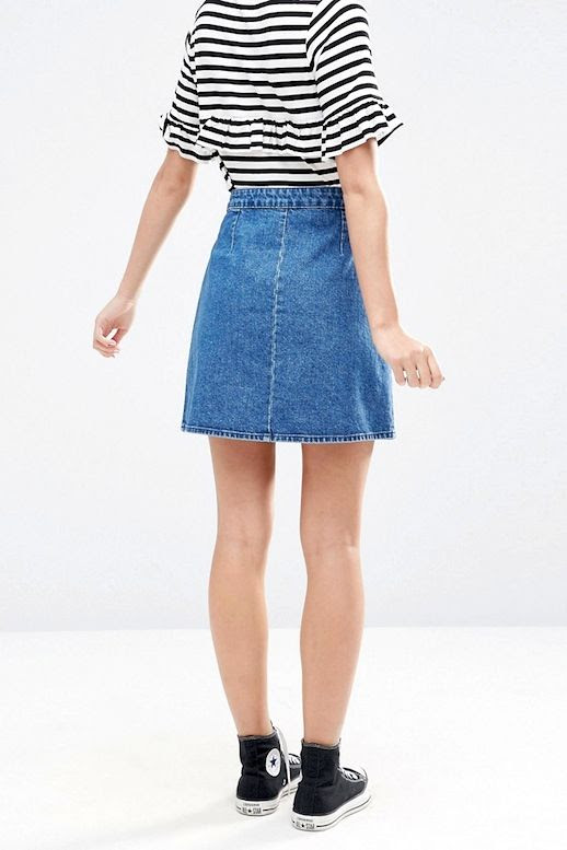 Le Fashion Blog Summer Style Black And White Striped Ruffled Tee Jean Wrap Skirt Converse Sneakers Via ASOS