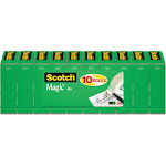 Scotch Magic 810P10K - Office tape - 0.75 in x 83 ft - 1 in core - acetate - matte transparent (pack of 10)