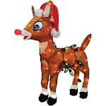 Northlight 24 in. Pre-Lit Soft Tinsel Rudolph the Red-Nosed Reindeer Yard Art Decoration