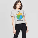 petiteWomen's Garfield Let's Save It Together Short Sleeve Cropped Graphic T-Shirt (Juniors') - Gray