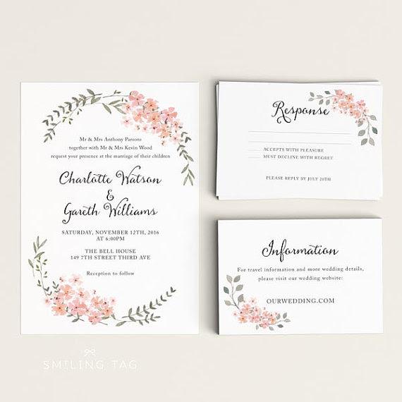 Printable Wedding Invitation Set - Watercolor Floral ...