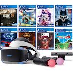 PlayStation VR 11-In-1 Deluxe 8 Games Bundle: VR Headset, Camera, Move Motion Controllers, Resident Evil 7, Batman, DOOM VFR, Battlezone, RIGS, Until