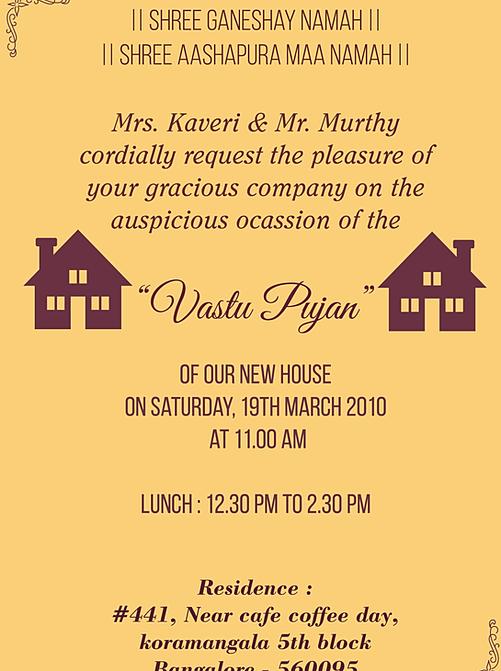 For Vastu Puja Sms Shanti Invitation Wordings Housewarming Griha Pravesh Vastushanti