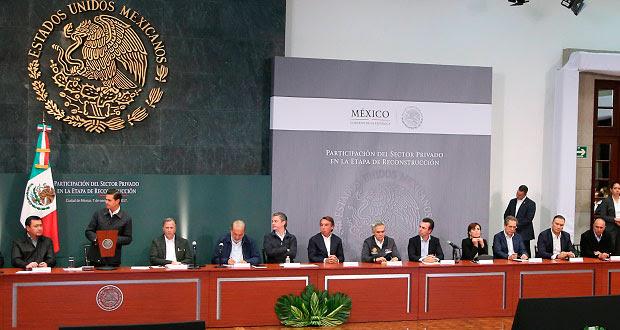 En reunión con EPN y gobernadores, IP aporta 4 mmdp a damnificados