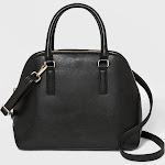 Triple Compartment Dome Satchel Handbag - A New Day Midnight Black, Women's