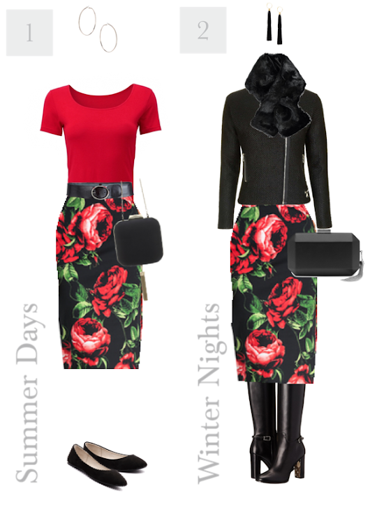 2 Ways to Wear a Rose Print Pencil Skirt | Bit Square