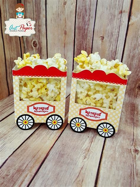 Personalized Popcorn Box Circus Cart   Set of 10   Art