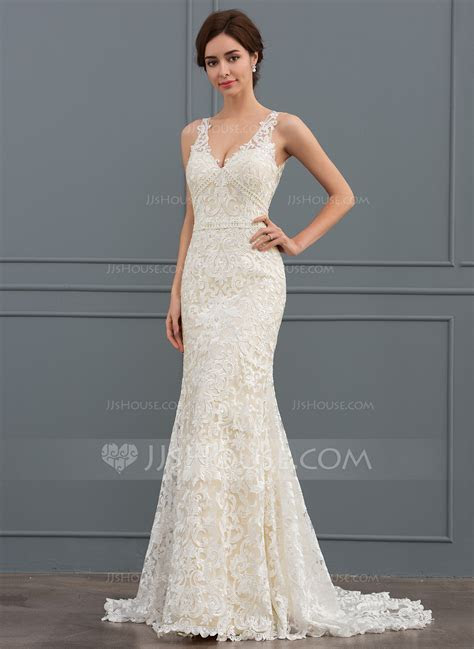 Trumpet/Mermaid V neck Sweep Train Lace Wedding Dress