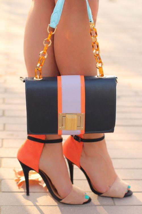 bright heels & bag