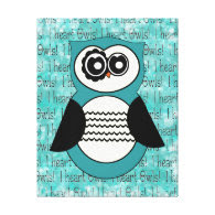 I heart Owls Aqua Blue Owl Canvas Print