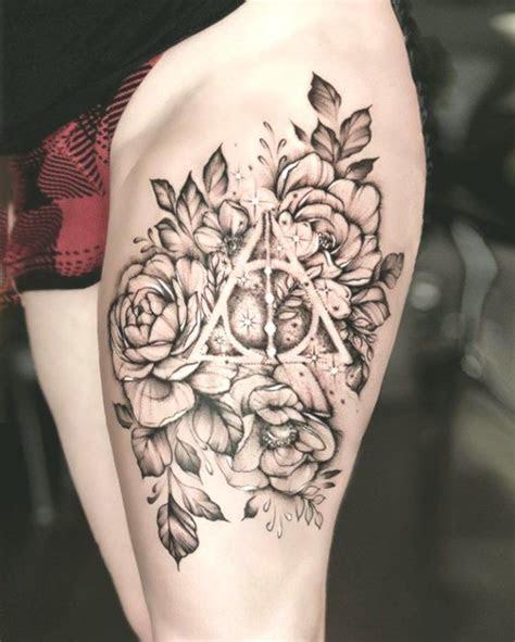 elegant unique flower thigh tattoos design women