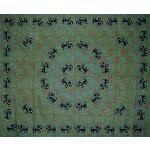 "Mandala Elephant Tapestry Cotton Bedspread 108"" x 88"" Full-Queen"