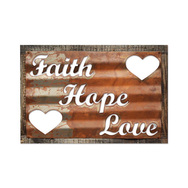 signs Hope Love military Sign Rustic Inches x Barn rustic Faith Wood 19  26 Corrugated