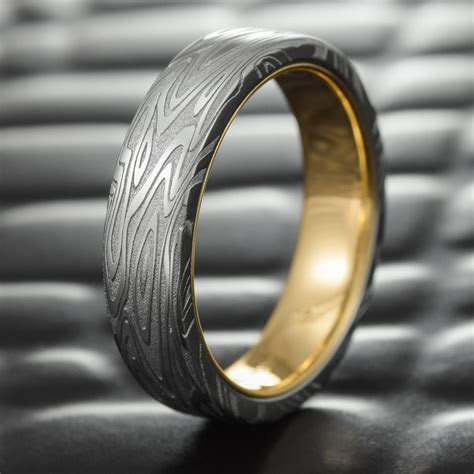 Flat Damascus Steel Mens Wedding Band with 14K Gold Liner