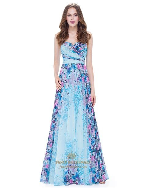 Strapless Sleeveless Floral Ruched Chiffon Maxi Dress With