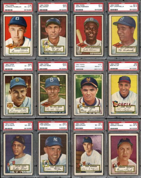 Lot Detail - 1952 Topps Near Complete Set (397/407) with PSA Graded Featuring PSA 5 Mantle