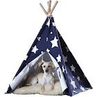 Pet Teepee - Blue with White Stars- Medium